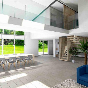 loft architecte interieur decoration passerelle baie vitrée blanc bois contemporain