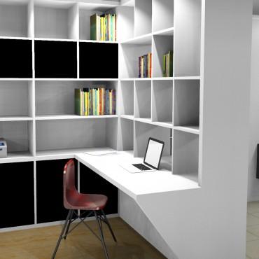 architecte interieur decoration decorateur salon bureau bibliothèque sur mesure blanc bois ordinateur
