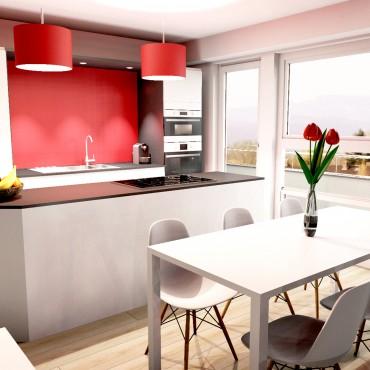 architecte interieur decoration decorateur cuisine équipée rouge bois bar comptoir séjour salle à manger salon appartement