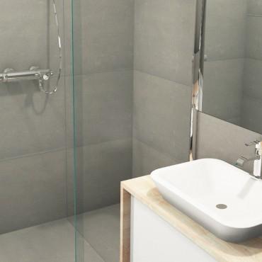 architecte interieur decoration salle de bain combles sous pente toiture spa douche à l'italienne