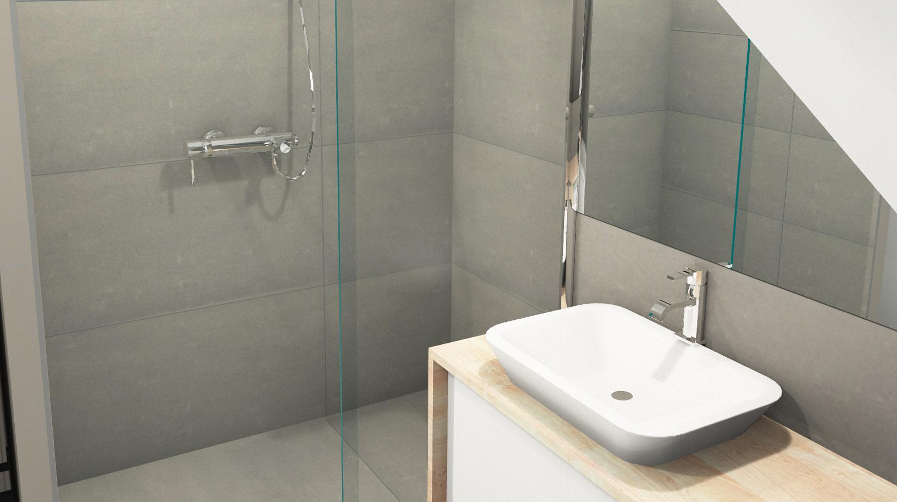 Bains sous combles boddaert interieur architecte interieur lille nord - Configuration salle de bain ...
