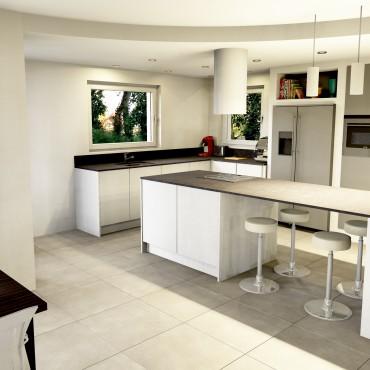 architecte interieur decoration decorateur cuisine équipée blanc blanche noir îlot central cuisson réfrigérateur frigo americain