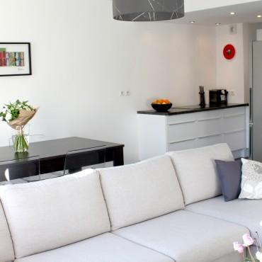 architecte interieur decoration decorateur appartement salon séjour cuisine équipée blanc moderne