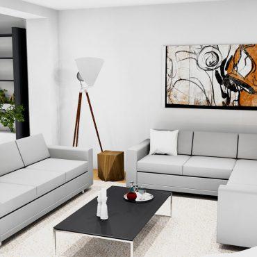 architecte interieur loft home staging decoration 3D parquet chêne salon salle à manger cuisine chambre