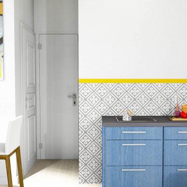 architecte interieur decorateur decoration studio petit espace cuisine équipée bleu