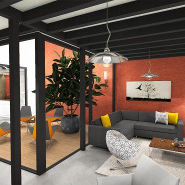architecte interieur decorateur decoration home staging virtuel 3D patio industriel