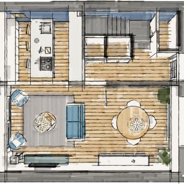 architecte interieur decoration decorateur architecture intérieur salon salle à manger canapé bleu cuisine îlot central jardin