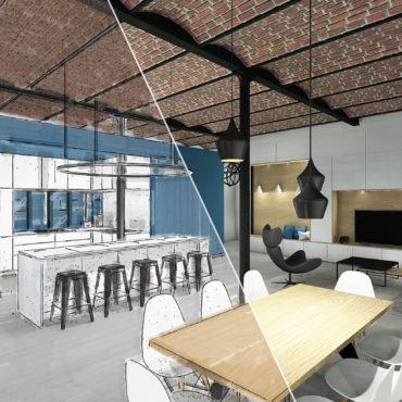 architecte intérieur architecte d'intérieur interieur architecture décorateur decoration décoration plans esquisses meuble mobilier sur-mesure sur mesure 3D conception verrière blanc noir ikea bois brique poutre contemporain buanderie