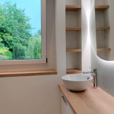 architecte intérieur architecte d'intérieur interieur architecture décorateur decoration décoration plans esquisses meuble mobilier sur-mesure sur mesure salle de bain douche vasque blanc vert bois bleu wc suspendu